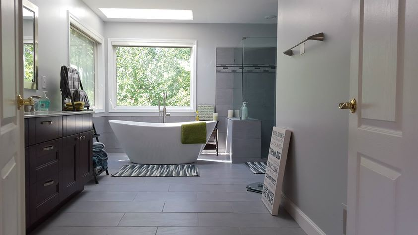 Modern & elegant master bath remodel by Optimum Construction.